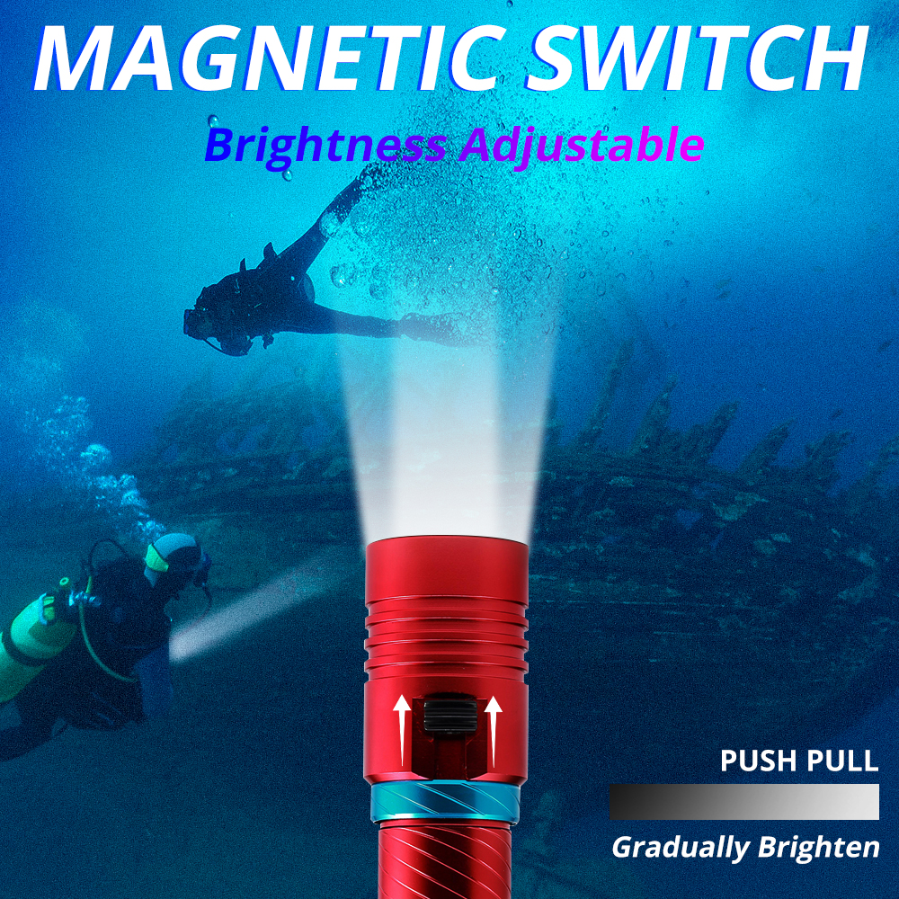 IPX8 Waterproof Dive Underwater 200 Meter Professional Diving Flashlight Torches White/Yellow Lamp Dive Light Camping Lanterna 6
