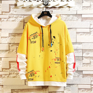 Image 4 - CYXZFTROFL 2019 Men Hoodie Patchwork Trendy Casual Sweatshirt Streetwear Hip Hop Ctudent Male Printed Clothing Pullover Hoodies