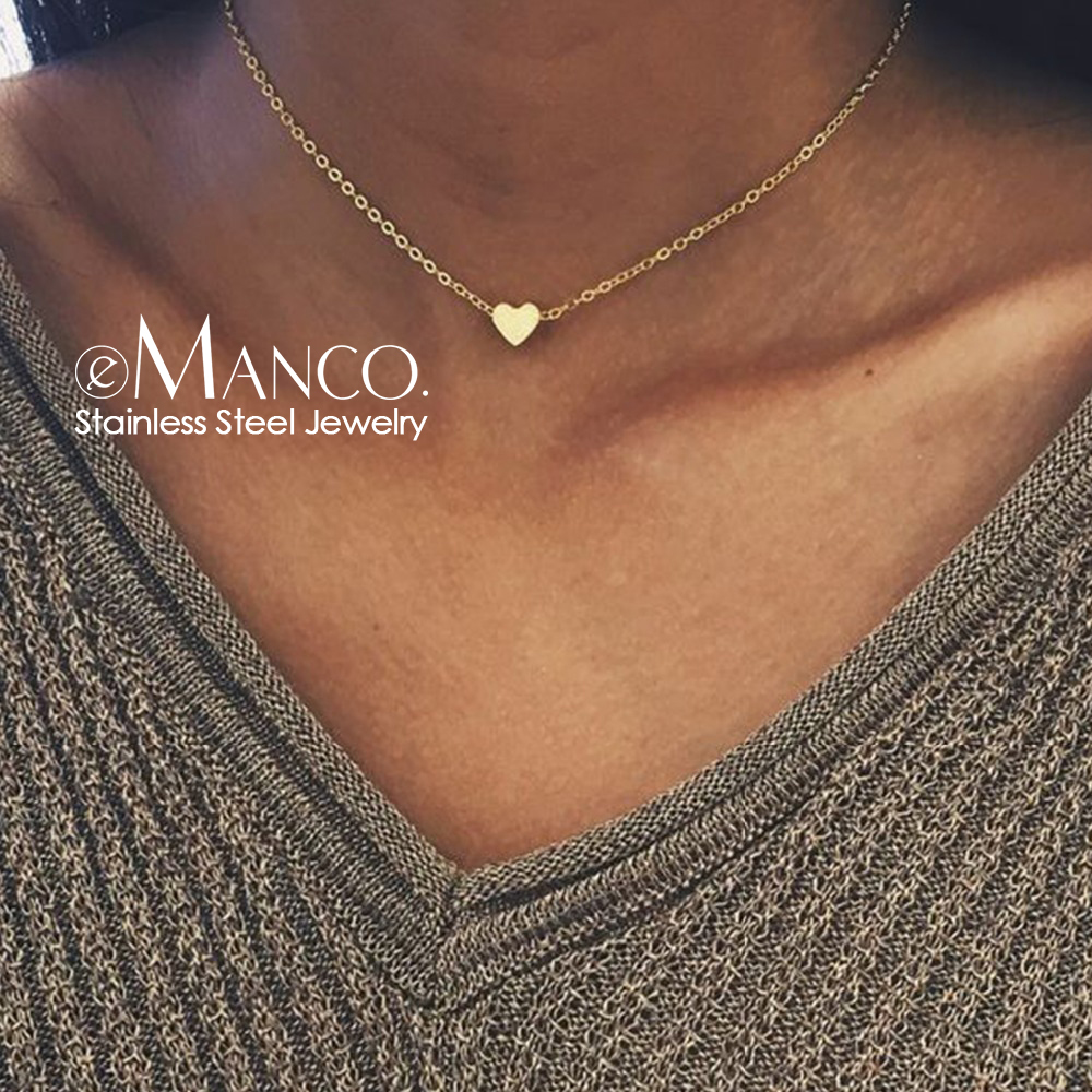 eManco 316L Stainless Steel Necklace Girls Heart Charm Choker Necklace for women Trending Necklace Jewelry