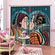 Space capsule Astronaut Love Blackout Curtains 3D Digital Print Space Living room home drapes(China)