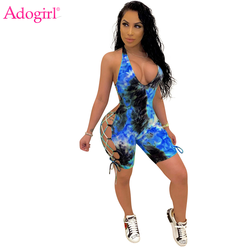 Adogirl Tie Dye Print Side Lace Up Casual Playsuit Women Sexy Deep V Neck Halter Backless Shorts Jumpsuits Tracksuit Romper