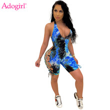 Adogirl Tie Dye Print Side Lace Up Casual Playsuit Vrouwen Sexy Diepe V-hals Halter Backless Shorts Jumpsuits Trainingspak Romper(China)