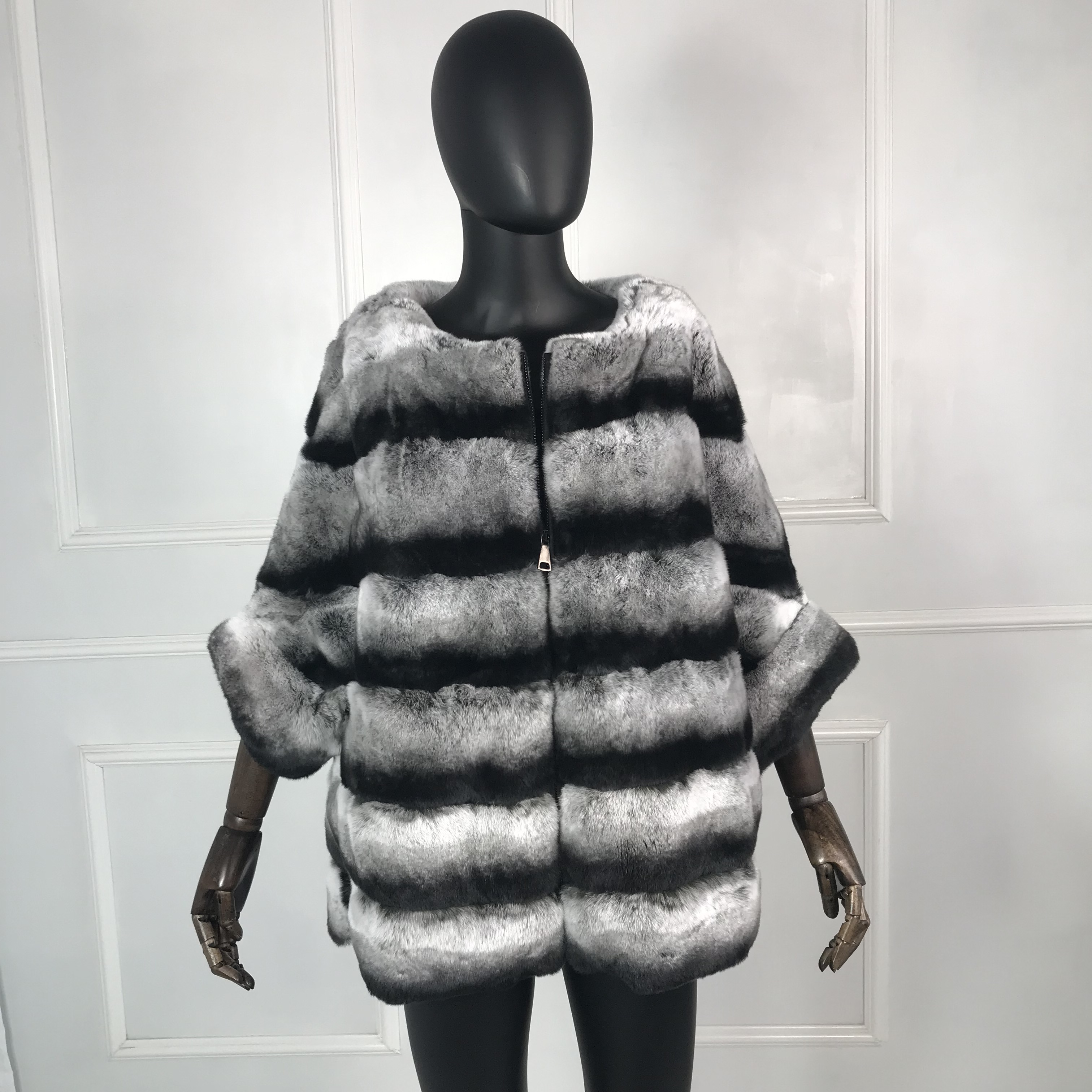 Real Fur Coat  High Quality Genuine Rex Rabbit Fur Coat Jacket With Batwing Sleeves Multicolor Natural Real Fur Coat Warm Zipper