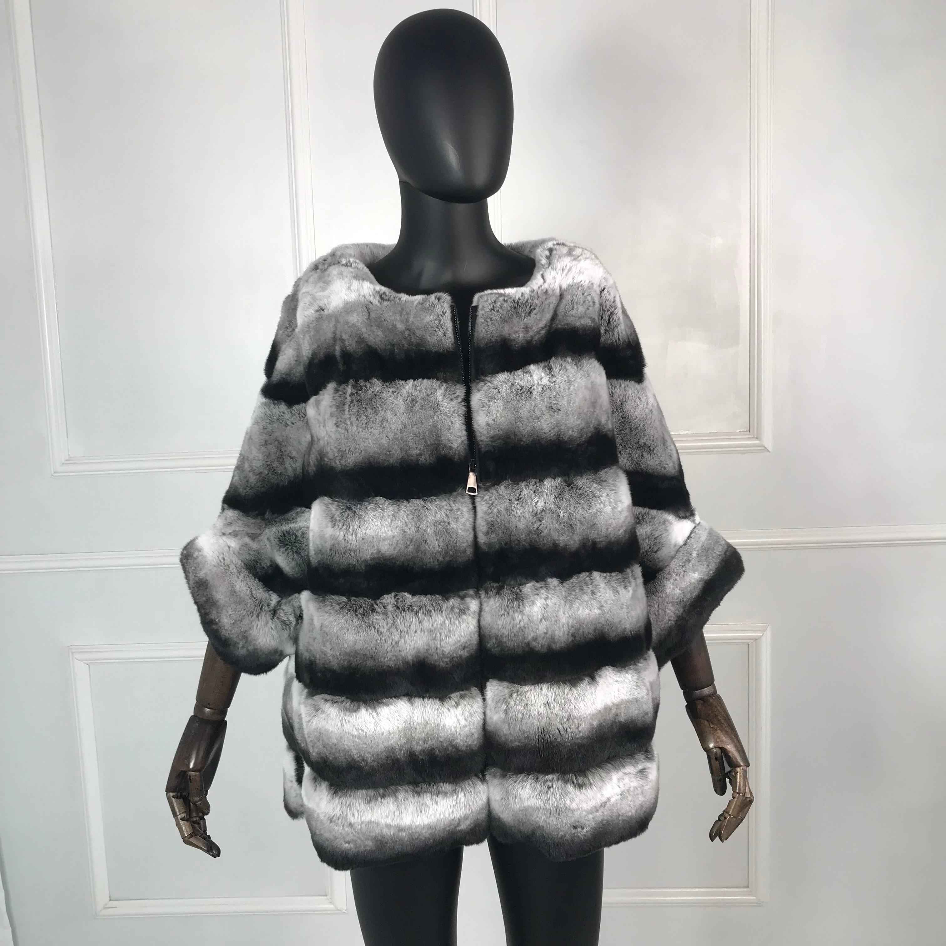 Véritable manteau de fourrure de haute qualité véritable Rex lapin manteau de fourrure veste avec manches chauve-souris multicolore naturel réel manteau de fourrure chaude fermeture à glissière