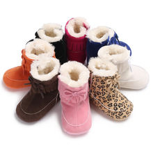 Winter Super Warm Newborn Baby Girls Shoes Fringe Bow Tassel Leopard Soft Sole Booties Fur Boots Non-slip Snow Shoes