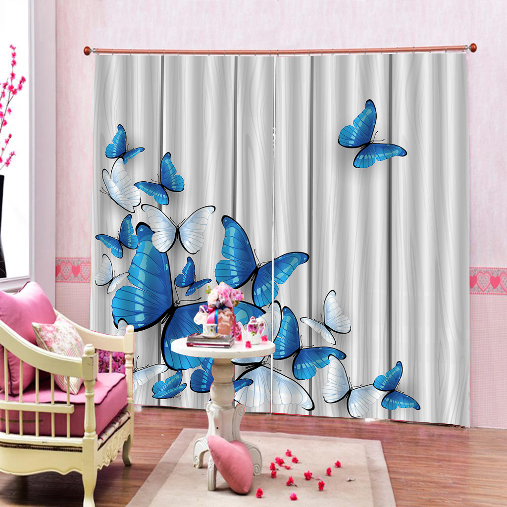 Blue Butterfly Curtains 3d Blackout Window Curtain Living Room