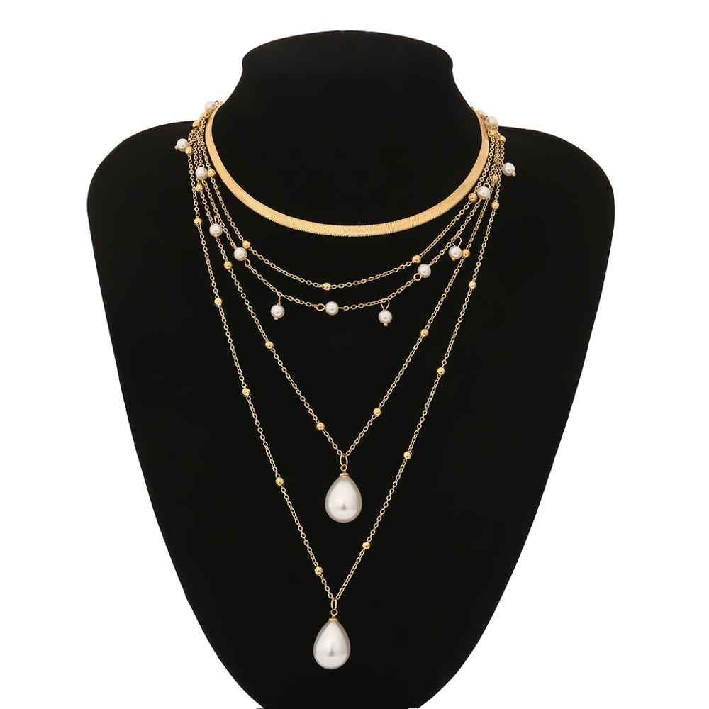 IngeSight.Z bohème Multi couche Imitation perle gland collier ras du cou collier pendentif déclaration collier pour les femmes bijoux