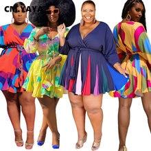 CM.YAYA Automne Hiver Femmes À Manches Longues Mini Robe Moulante Plissée Imprimée Sexy Club Fête Col V Shases Grande Taille S-5XL ROBE