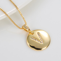 High Quality 26 Letters Crystal 14 K Plated Copper Wafer Pendant Necklace