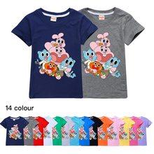 Summer cotton children's shirt gumball amazing world boys and girls short sleeve T-shirt kids clothes girls 3 to 16 teenage