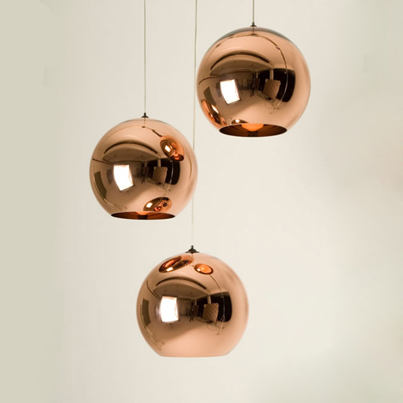 Electroplated Glass Ball Pendant Lights Modern Led Hanging Lamp Home Deco Mirror Globe Lampshade Pendant Lamp Luminaire Fixtures