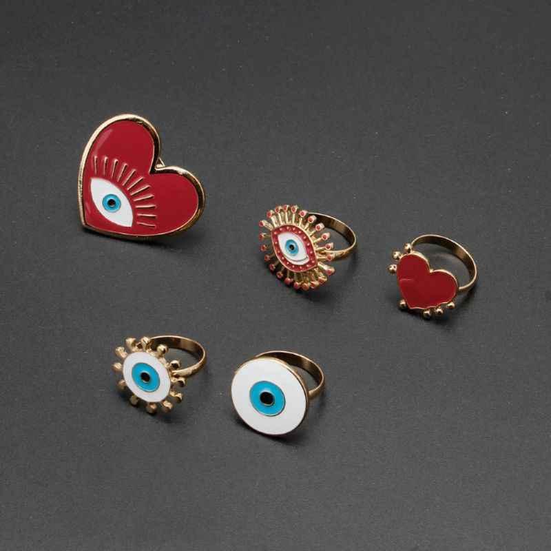 Gold Plated Heart Enamel Evil Eye เปิดผู้หญิงแหวนปรับเครื่องประดับ