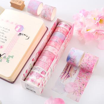 12Rolls/Lot Cherry Blossoms Mermaid Cute Pink Floral Cute Paper Masking Washi Tape Set Japanese Stationery Scrapbooking Supplies