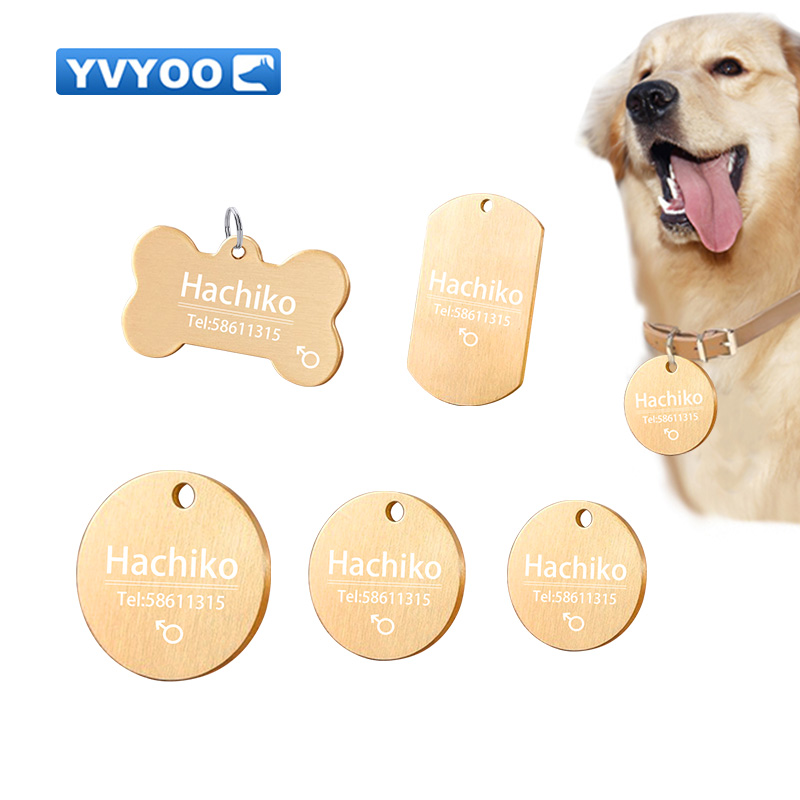 YVYOO Personalized <font><b>Dog</b></font> ID Tags Brass Pet ID Tags for cats and <font><b>dogs</b></font> <font><b>Collar</b></font> Accessories <font><b>Dog</b></font> Tag Engraved Tel <font><b>Sex</b></font> Name Tag image
