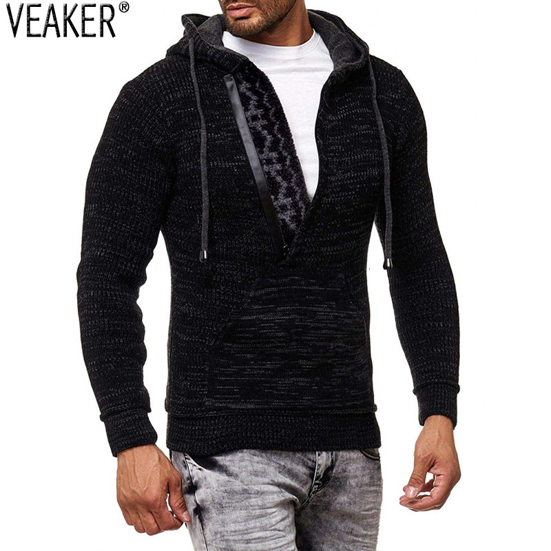 2019 New Men's Turtleneck Hooded Sweater Pullovers Male Slim Fit Zipper Sweaters Autumn Winter Solid Color Knitted Sweater Coat
