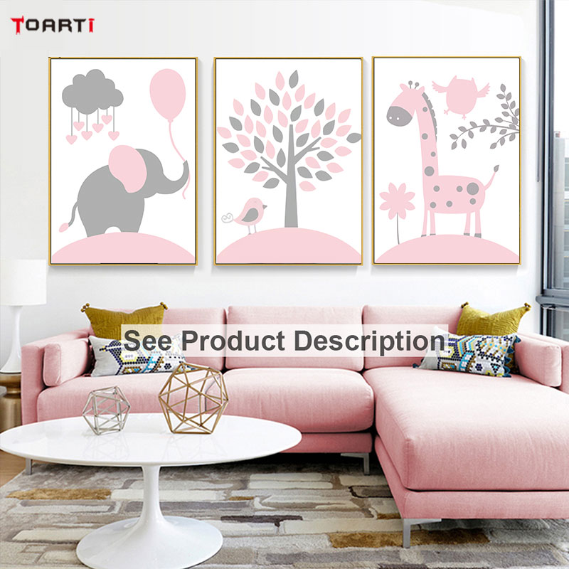 Pink Cartoon Animals Canvas Painting Elephant Bird Posters Prints Kids Quote Pictures For Nursery Bedroom Home Decor Modern Art