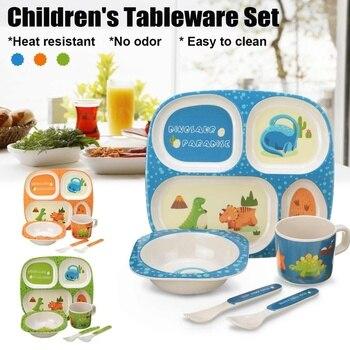 5P/Set Baby Feeding Bowl Children Training Tableware Dishes Set Natural Bamboo Environmental - discount item  18% OFF Feeding