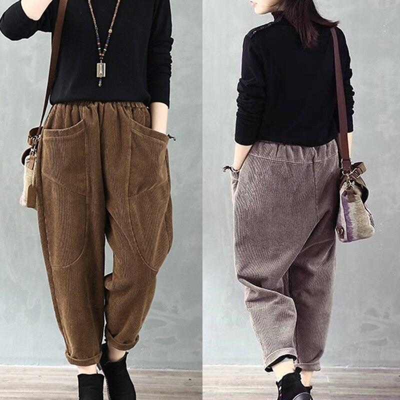 2019 Women Trousers Retro Pocket Solid Color Corduroy Loose Casual Harem Pants Trousers Lady Autumn Winter Loose Pants