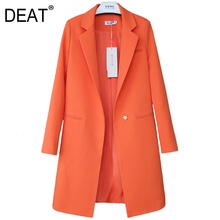DEAT 2020 Autumn New Pattern Small Suit Woman Korean Long Sleeve Thin All-match Loose Coat female balazer S-XXL all sizes cheap REGULAR Notched Single Button Blazers Polyester NYLON Full WOMEN Office Lady NONE Solid Medium and long 91 (inclusive) -95 (inclusive)