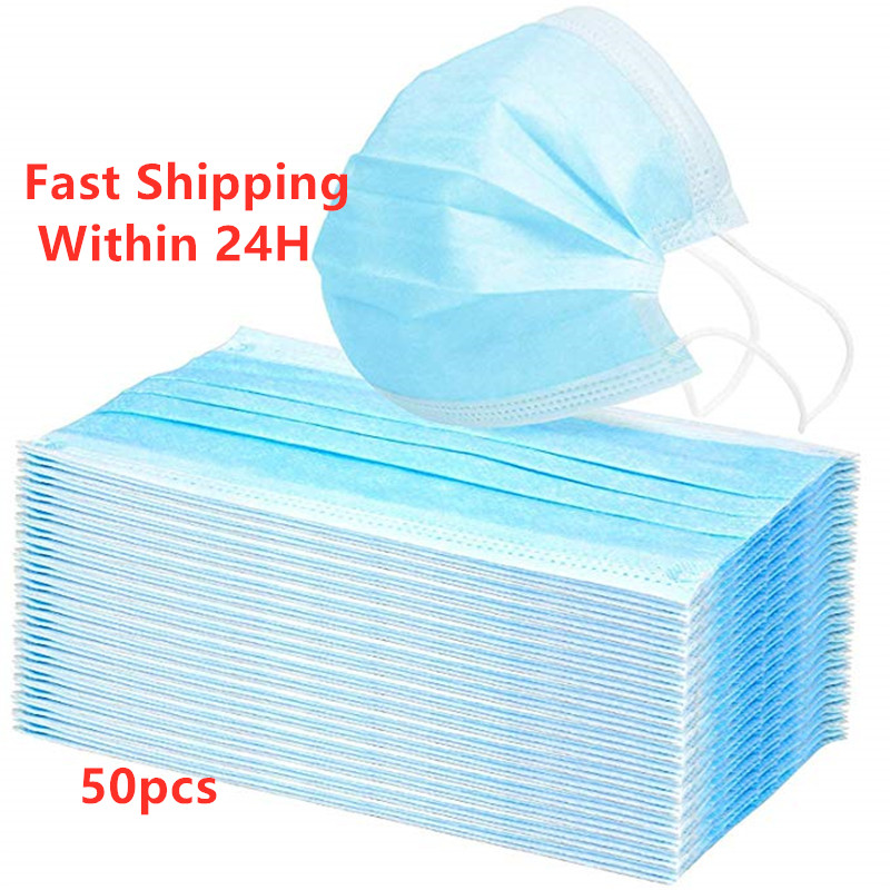 50 Pcs Blue Disposable Mask Earloop Mouth Cover Anti Dust Mouth Masks Respirator