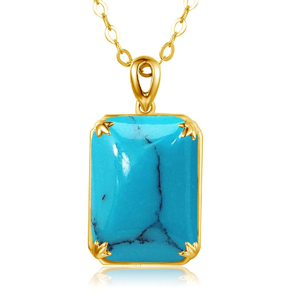 Szjinao Silver Pendant For Women Genuine 925 Sterling Silver Turquoise Big Gemstone Shiny Punk Designer Fine Jewelry Handmade