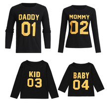 Autumn Family Matching Sweatshirts Long Sleeve Mum Dad Kids Baby Hoodies Casual Pullover Letter tshirt Winter Look E0277