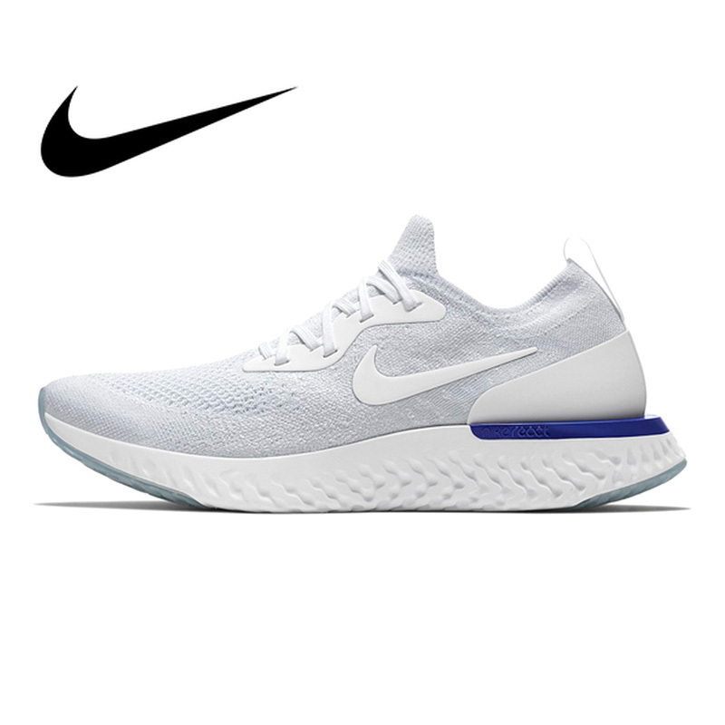 Original Authentic Nike Epic React Flyknit Men's Running Shoes Fashion Outdoor Sneakers Lace-up Shoes Black Grey Non-slip AQ0067