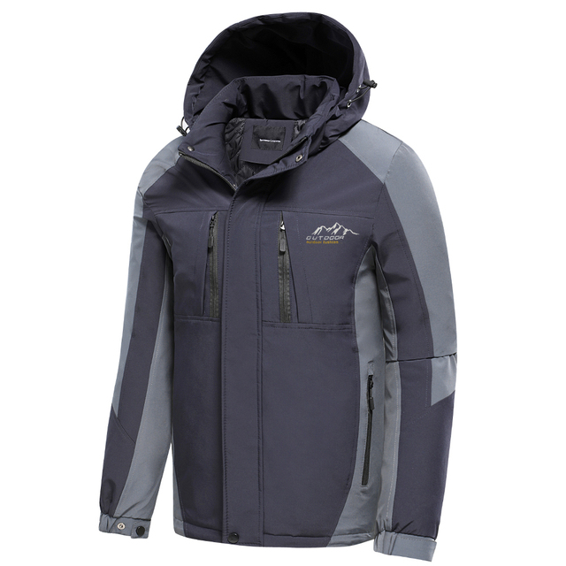 Oiata Men 2021 Spring New Brand Outdoor Vintage Thick Jacket Coat Men Autumn Fashion Patchwork Waterproof Pockets Hat Jackets 4