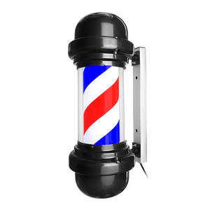 Rotating-Lighting Sign Pole Led-Downlight Wall-Hanging Barber-Shop Stripe Blue Red White