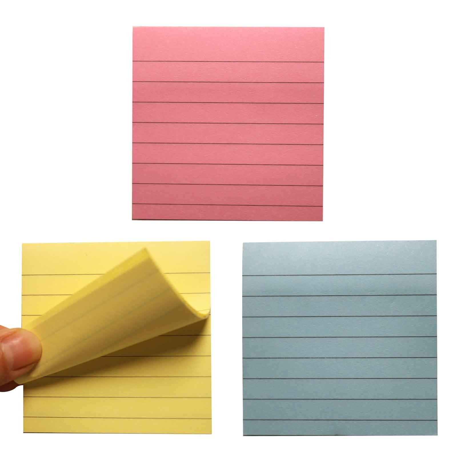 Bloco de notas pegajoso horizontal da mensagem das notas da auto-vara da listra da pasta da almofada do memorando da cor de 80 folhas para o uso da escola, do escritório ou da família