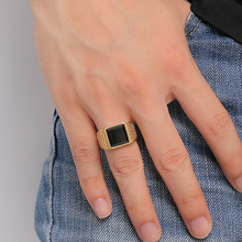Vantage квадратное Золотое кольцо для мужчин черный камень мужские ювелирные изделия из нержавеющей стали большой размер 7 до 13