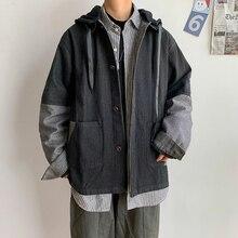 Denim Jacket Men Fashion Retro Contrast Color Casual Hooded Denim Jacket Coat Man Streetwear Loose Hip Hop Bomber Jacket Men