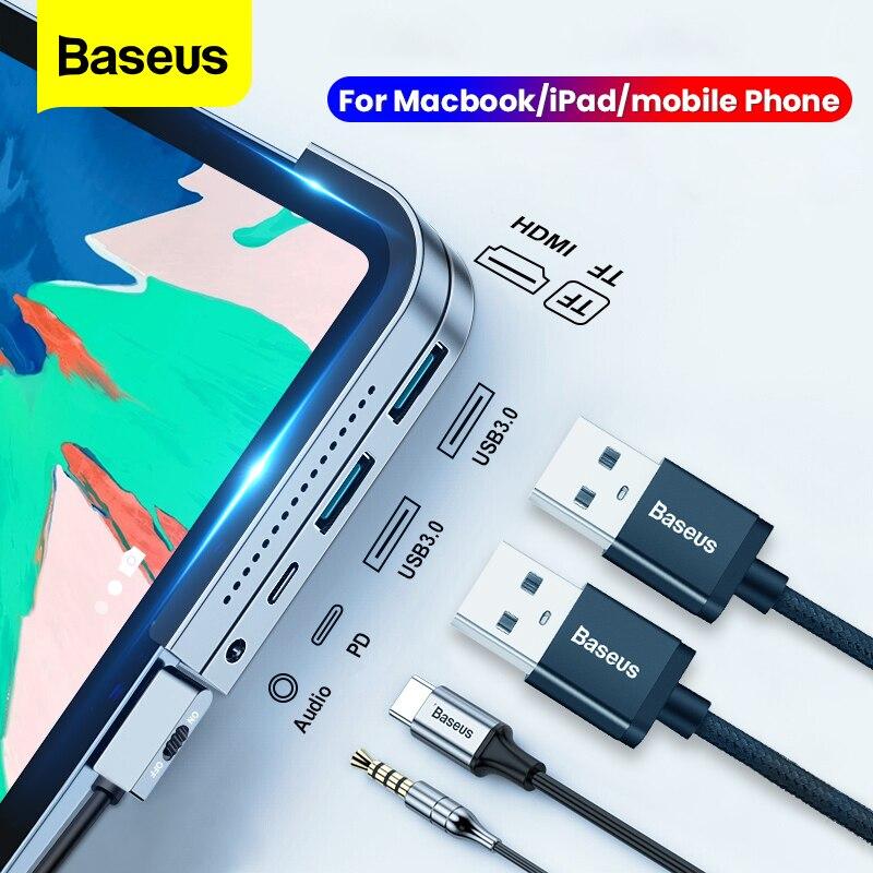 Baseus USB C HUB For MacBook Pro Docking Station Type C HUB to HDMI USB 3.0 PD Port 3.5mm Jack USB-C HUB Adapter For iPad Pro(China)
