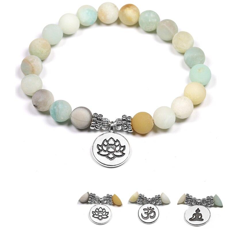 Natural Stone Yoga Bracelets 8mm Matte Amazonite Beads Bracelet With Lotus OM Buddha Charm Meditation Healing
