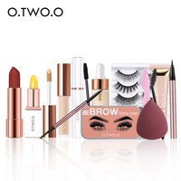 O.TWO.O Makeup Kit 11 pcs Cosmetic Set Woman Beauty  Lipstick Eyebrows Make Up Fake Eyelashes Sponge Foundation Woman Gift