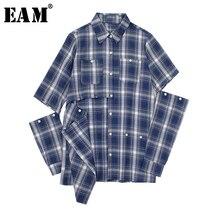 [EAM] נשים כחול משובץ חלול החוצה Sittch חולצה חדש דש ארוך שרוול Loose Fit חולצה אופנה גאות באביב סתיו 2020 JW831