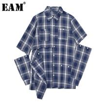 [EAM] Women Blue Plaid Hollow Out Sittch Blouse New Lapel Long Sleeve Loose Fit Shirt Fashion Tide Spring Autumn 2020 JW831