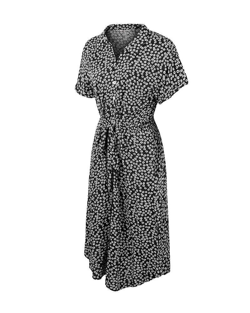 Printed Summer Short Sleeve Midi Dress