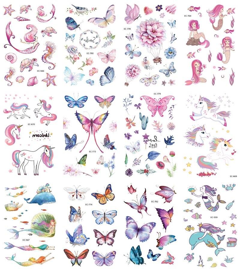 Waterproof Cartoon Mermaid Unicorn Dinosaur Flower Butterfly Temporary Tattoo Stickers For Children Kid Fake Tatoo Stickers