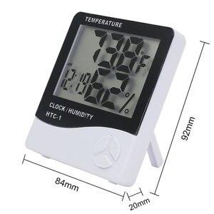 Image 4 - Комнатный термометр гигрометр, электронный цифровой ЖК дисплей C/F, измеритель температуры и влажности, метеостанция с будильником для спальни и дома
