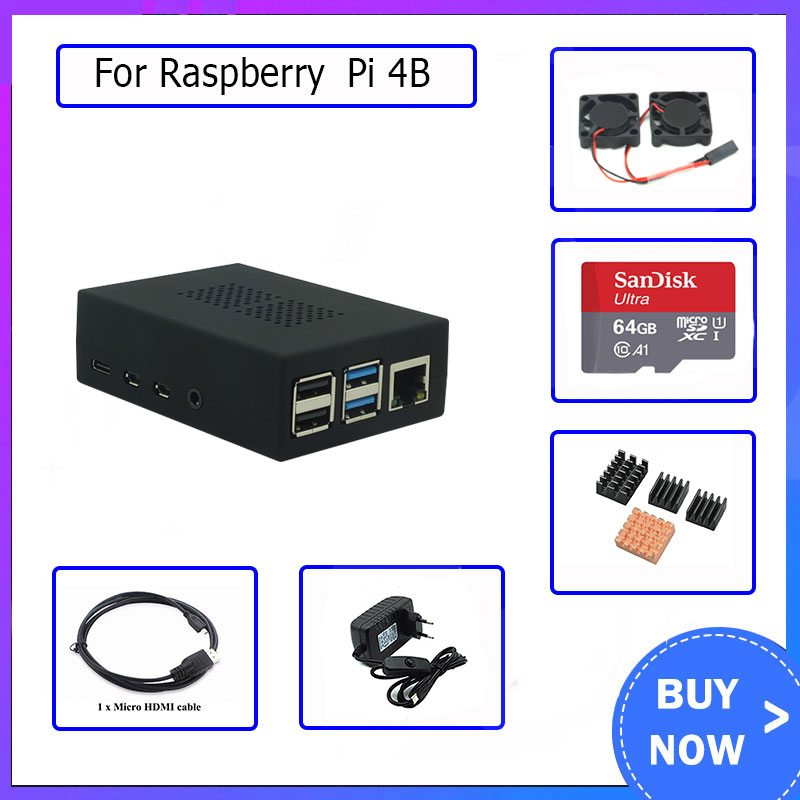 <font><b>Raspberry</b></font> <font><b>Pi</b></font> <font><b>4</b></font> <font><b>Model</b></font> <font><b>B</b></font> ABS Case kit with Dual Fans+64GB card + <font><b>Heatsink</b></font>+ HDMI+5V 3A power for <font><b>Raspberry</b></font> <font><b>pi</b></font> 4B image