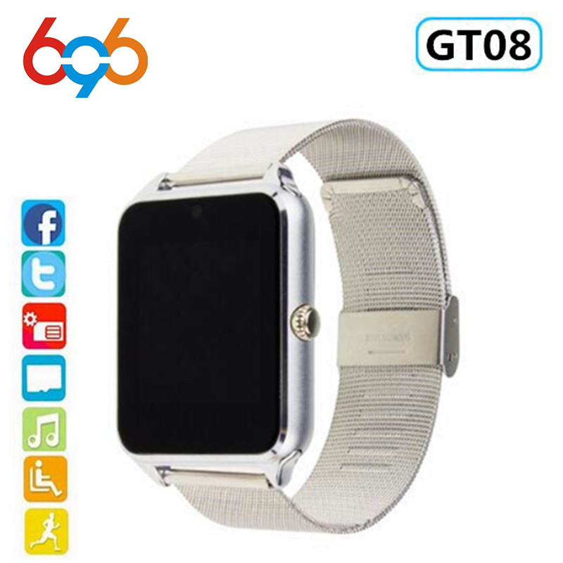 696 Smart Watch GT08 Plus Metal Clock With Sim Card Slot Push Message Bluetooth Connectivity Android Phone Smartwatch Z60 PK S8