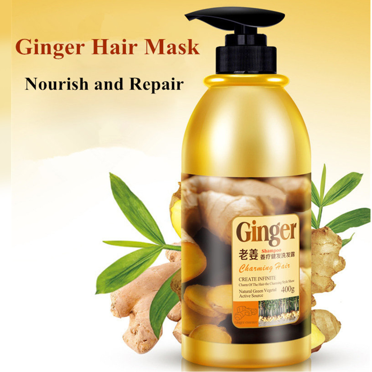 Herbal Ginger Hair Shampoo No Silicone Oil Oil Control Anti Dandruff Itching Cleansing Professional Hair & Scalp Treatment 400ml