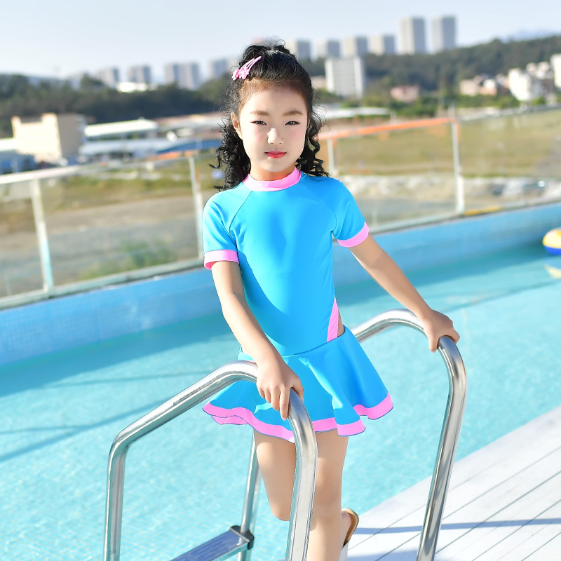 18 New Style Hot Sales One-piece Swimming Suit Solid Color Ultra-stretch Sweet Cute Bow Triangular Children Girls KID'S Swimwear