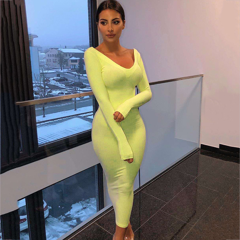 Sexy V Neck Party Club Dress Women Autumn Long Sleeve Maxi Dresses 2019 Elegant Cotton Neon Green Bodycon Tight Dress Clothes in Dresses from Women 39 s Clothing
