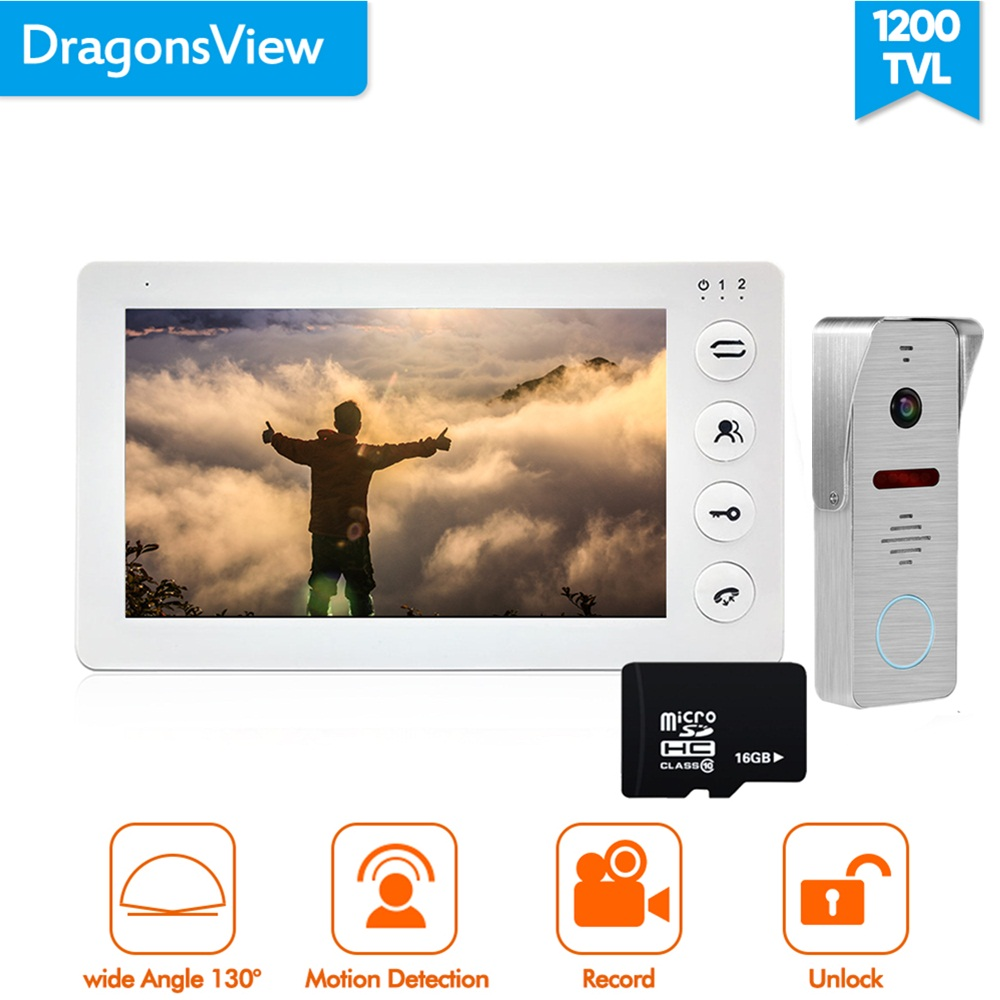 Dragonsview 7 inch Video Door Phone Intercom System Record Motion Detection Wide Angle Doorbell with Camera Waterproof Cover