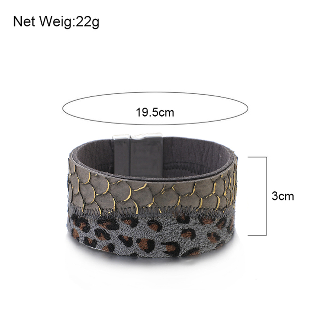 Wide Leather Bracelets For Women sizing dimensions
