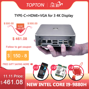 TOPTON Mini PC Windows 10 Intel i9 9880H 8 Core 16 Threads 2*DDR4 2*M.2 NVME 2*Lan Barebone System DP HDMI HTPC NUC 4K Computer