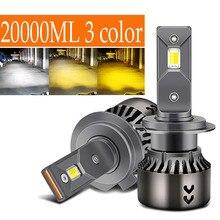 Ampoule de phare de voiture Canbus Led 3 couleurs, h4 H7, h1 h3 h11 9005 hb3 9006 hb4 9003 hb2 h4 12v hb4 h8, sans erreur, 65w