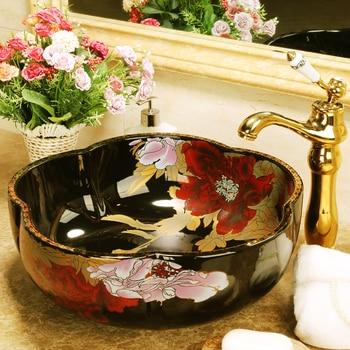 Jingdezhen black colour rose flower counter top ceramic wash basin for hotel or home